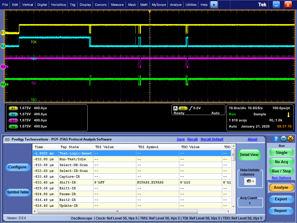 JTAG IEEE 1149.1 JTAG Electrical Validation and Protocol Decode Software